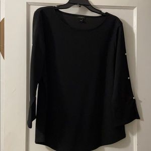 Black blouse with pearl button sleeves